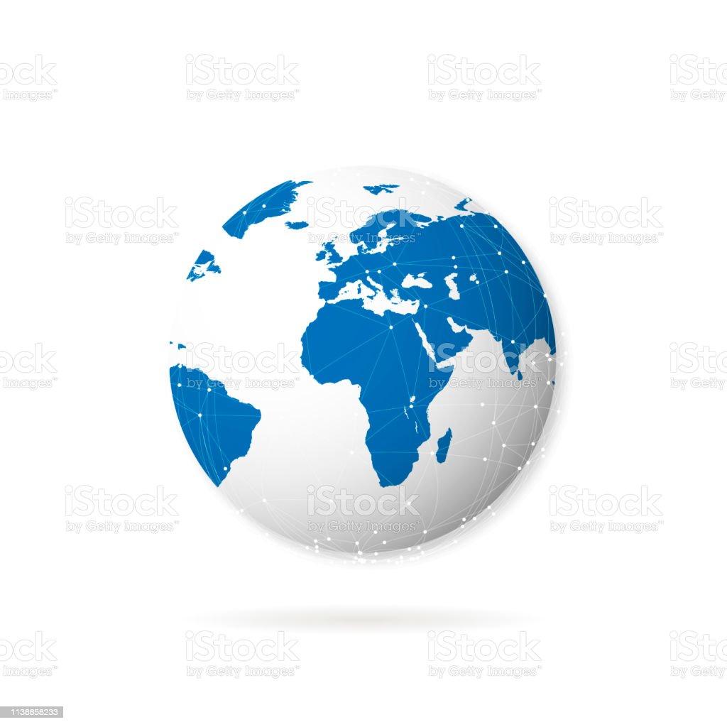 Planète Terre Avec Lombre Sur Le Fond Blanc Vecteurs Libres
