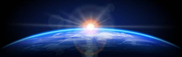 planeta ziemia ze wschodem słońca w kosmosie. dzień ziemi. ilustracja wektorowa - horyzont stock illustrations