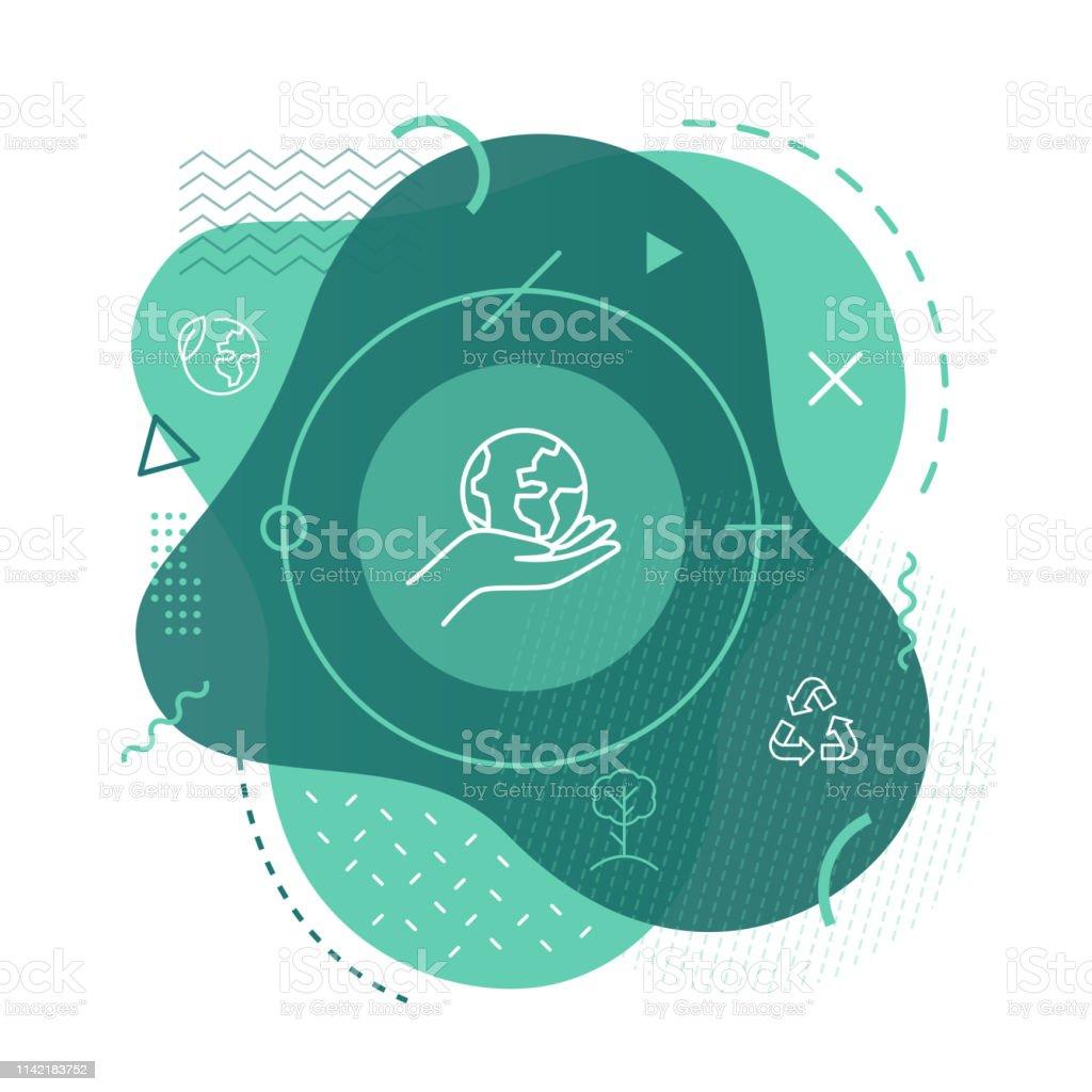 Fond d'icône de planète écologie - clipart vectoriel de Arbre libre de droits