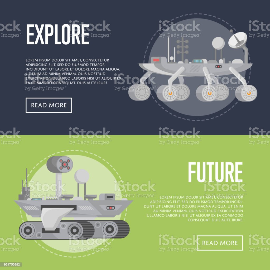 Planet exploration flyers with research rovers vector art illustration