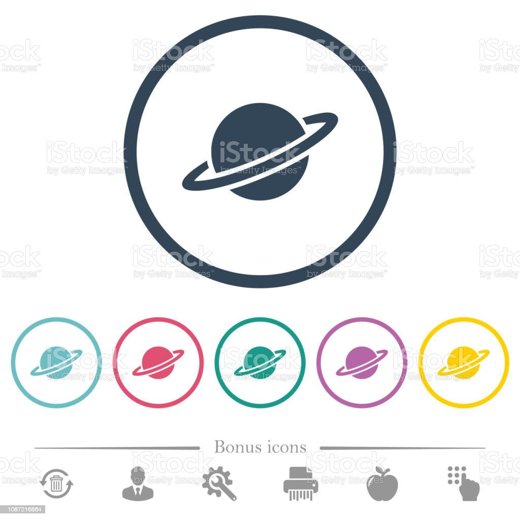 Planet flat color icons in round outlines