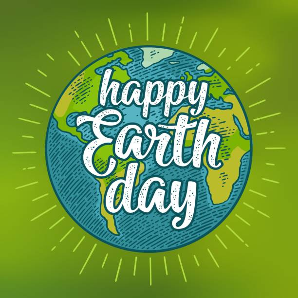 Planet. Happy Earth Day lettering. Vector color vintage engraving illustration Planet globe. Happy Earth Day calligraphic handwriting lettering with ray. Vector color vintage illustration isolated on a green mesh gradient background. For web, square poster, info graphic. earth day stock illustrations