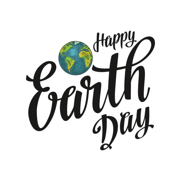 planet. happy earth day lettering. vector color vintage engraving illustration - earth day stock illustrations, clip art, cartoons, & icons