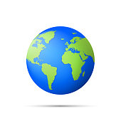 Planet icon. Earth globe icon 3d isolated on white background. Vector illustration