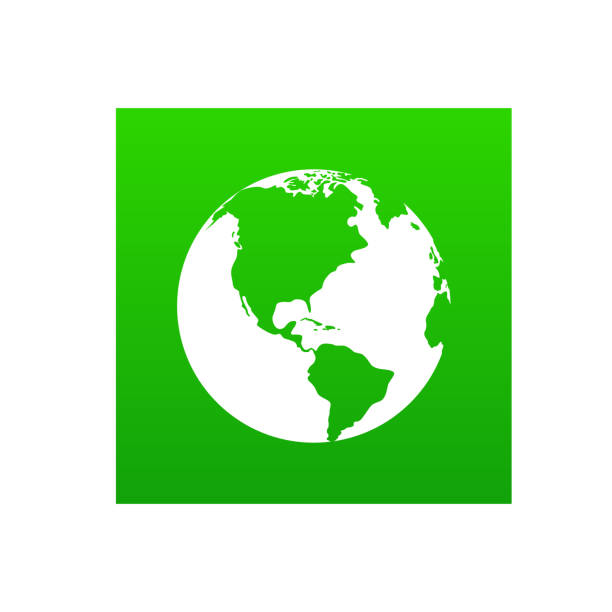 ilustraciones, imágenes clip art, dibujos animados e iconos de stock de icono del planeta aislado en blanco, globo del mundo verde - suministros escolares