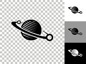 istock Planet Icon on Checkerboard Transparent Background 1266386446