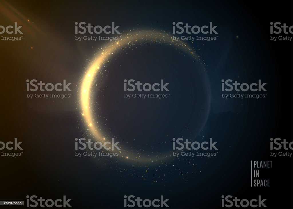 Planet in space background. Universe stars. Eclipse vector art illustration