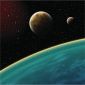 Vector illustration of planets in the starry cosmos.