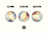 Planet in three positions. World background in origami style. Vector illustration.