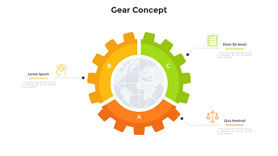 Planet inside gear wheel divided into 3 pieces. Concept of three features of global industry, international industrial company. Simple infographic design template. Modern flat vector illustration.
