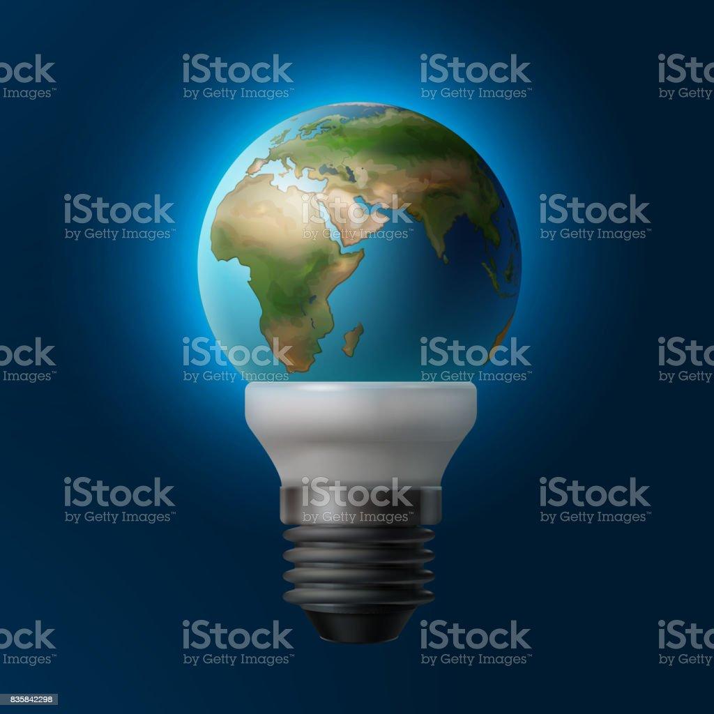 Planète à l'intérieur de la lampe - Illustration vectorielle
