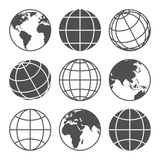 ilustrações de stock, clip art, desenhos animados e ícones de planet map globe icons - longitude