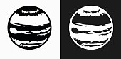 Planet Mars Icon on Black and White Vector Backgrounds. This vector illustration includes two variations of the icon one in black on a light background on the left and another version in white on a dark background positioned on the right. The vector icon is simple yet elegant and can be used in a variety of ways including website or mobile application icon. This royalty free image is 100% vector based and all design elements can be scaled to any size.
