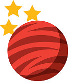 planet mars with stars icon