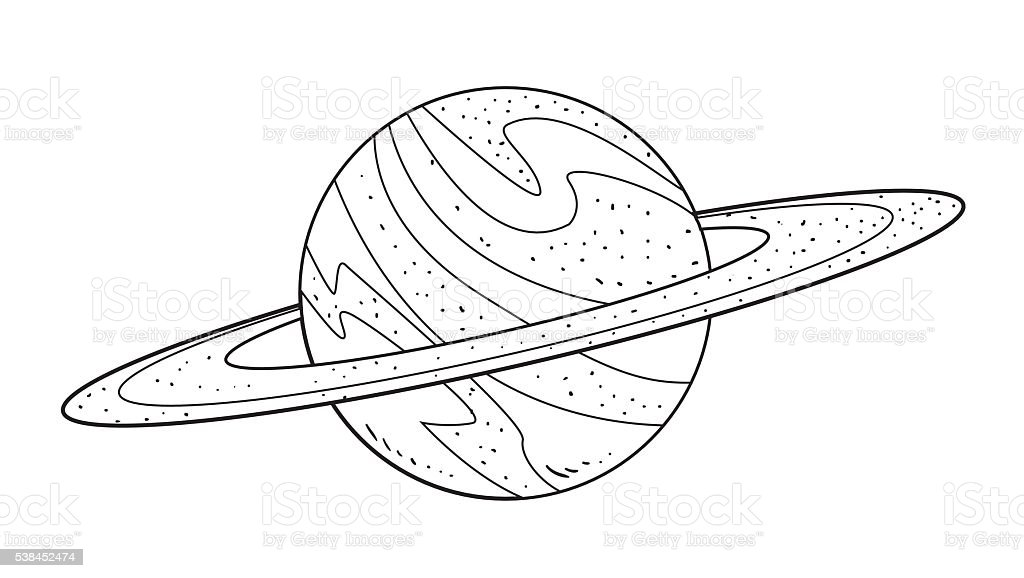 Drawing Of Saturn With  Rings
