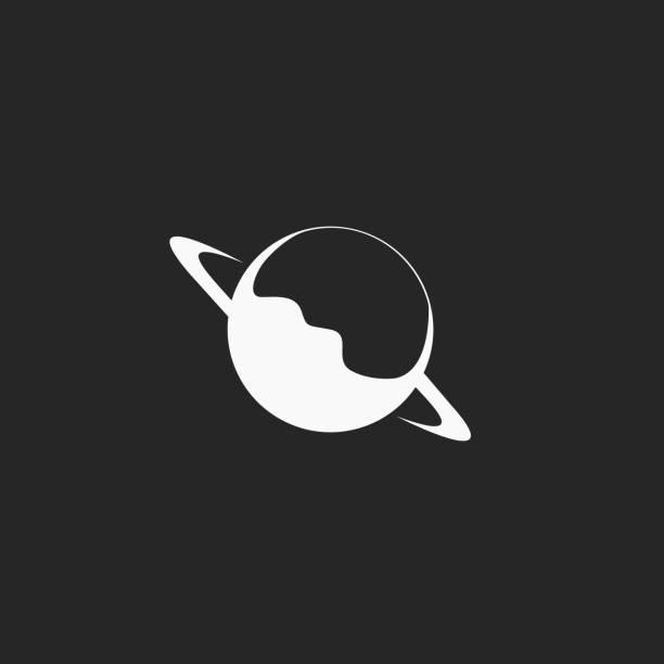 Karanlık arka planda Satürn gezegeni illüstrasyonu vektör sanat illüstrasyonu