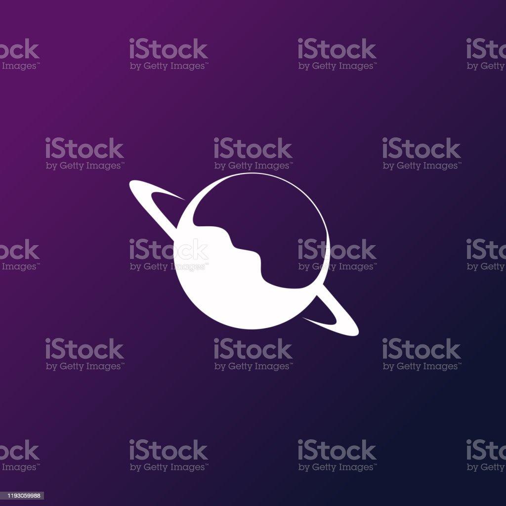 Degrade arka planda Gezegen Satürn illüstrasyon - Royalty-free Animasyon karakter Vector Art