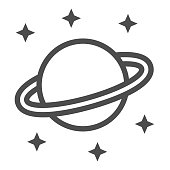 Planet Saturn line icon, space concept, Planet and stars sign on white background, Saturn with planetary ring system icon in outline style for mobile concept and web design. Vector graphics