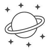 Planet Saturn thin line icon, space concept, Planet and stars sign on white background, Saturn with planetary ring system icon in outline style for mobile concept and web design. Vector graphics
