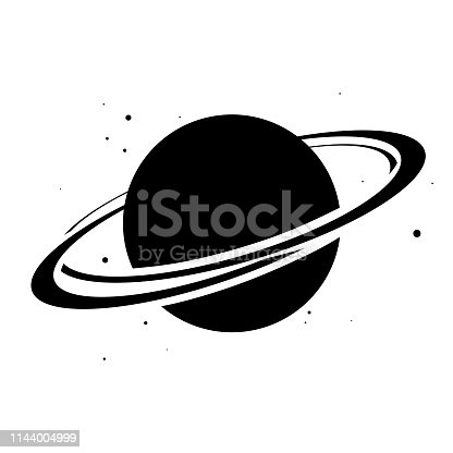 istock Planet Saturn with planetary ring system flat icon. Vector illustration on white background 1144004999