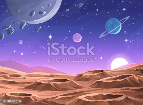 Sunrise over a barren alien planet or moon, saturated with craters. In the background is a dark purple sky full of stars, comets, asteroids and planets. Vector illustration with space for text.