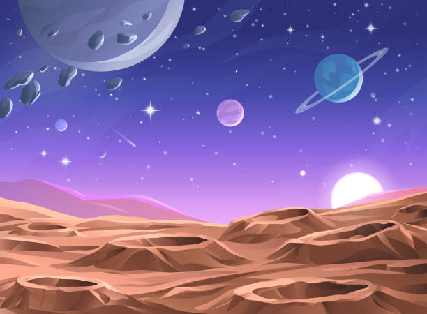 illustrazioni stock, clip art, cartoni animati e icone di tendenza di planet surface - space