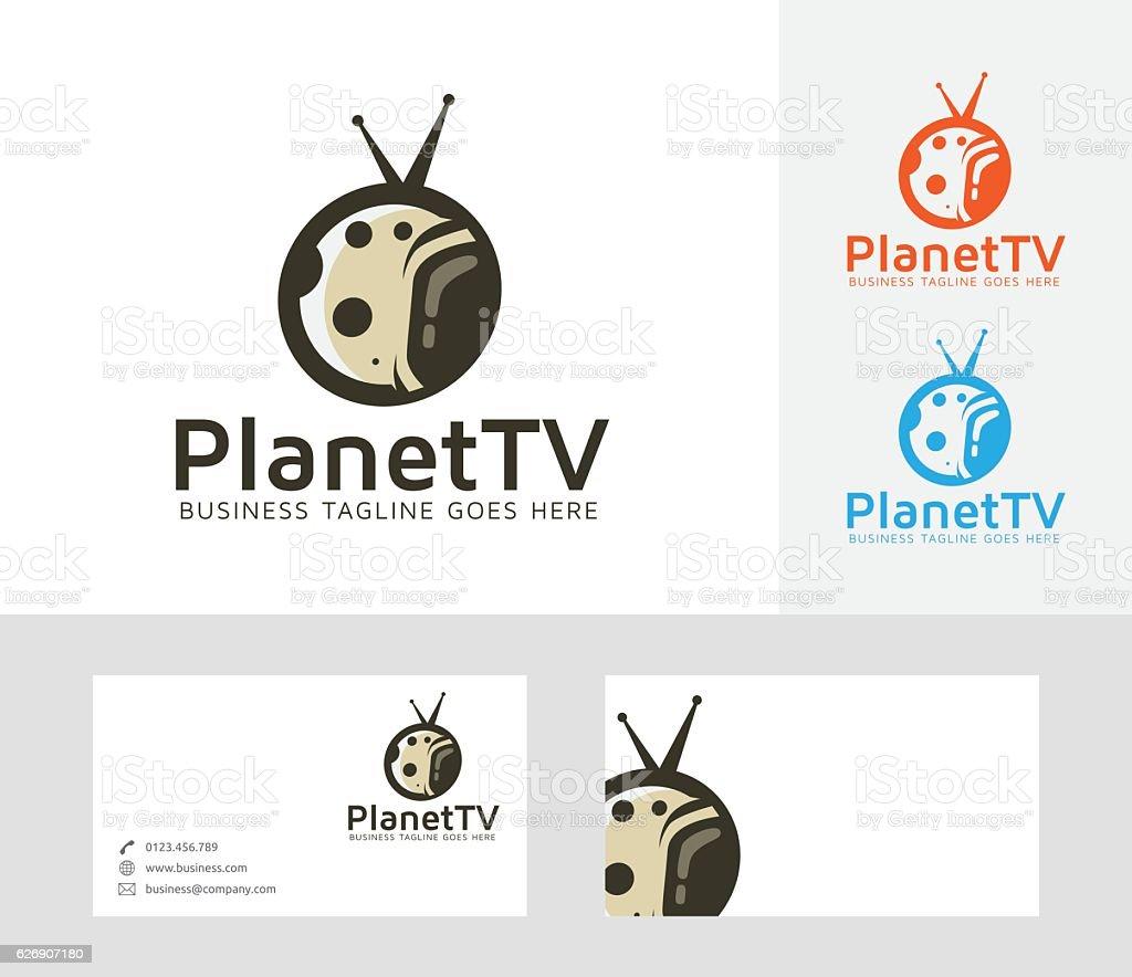 Planet TV vector logo vector art illustration