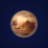 Planet venus background night sky cartoon style