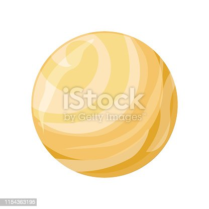 Planet Venus icon. Element of solar system. Solar system. Isolated planet. Orange round planet. Isolated object in flat design on white background. Vector illustration.