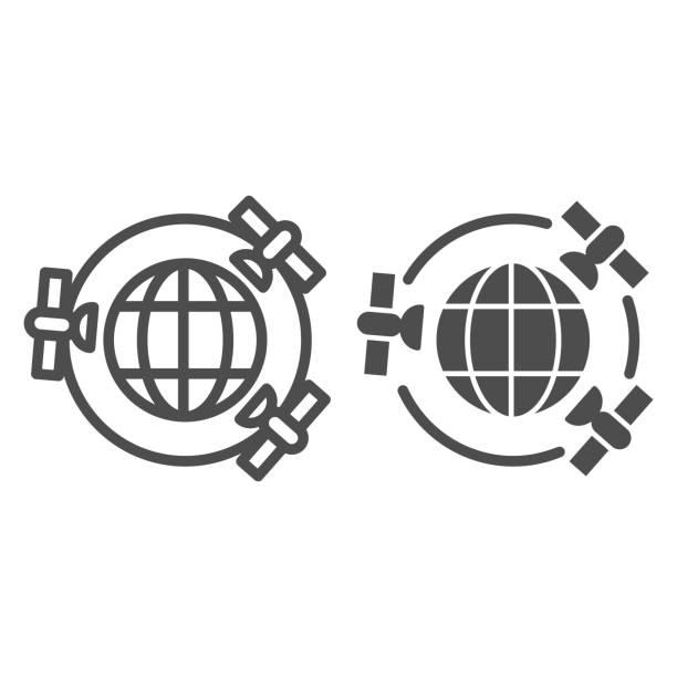 illustrazioni stock, clip art, cartoni animati e icone di tendenza di pianeta con linea satelliti gps e icona solida, concetto di navigazione, tre satelliti in orbita attorno al segno della terra su sfondo bianco, pianeta terra e icona satellitare in stile contorno. grafica vettoriale. - sfera lucida