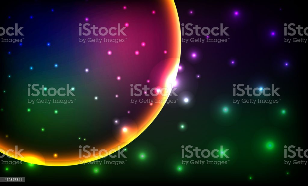planet with sunrise on the background royalty-free stock vector art