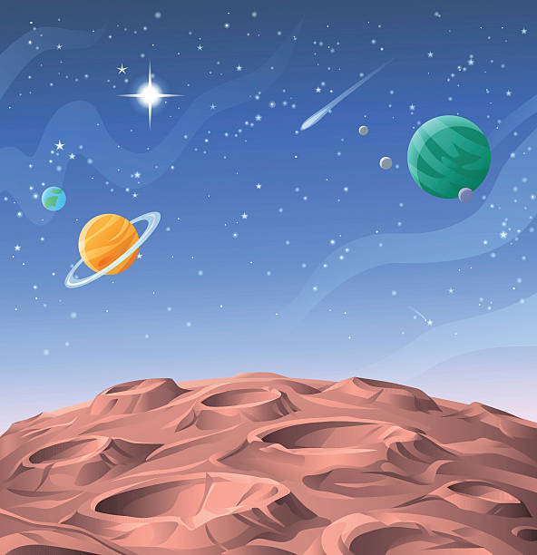 planetary surface - copy space stock illustrations, clip art, cartoons, & icons