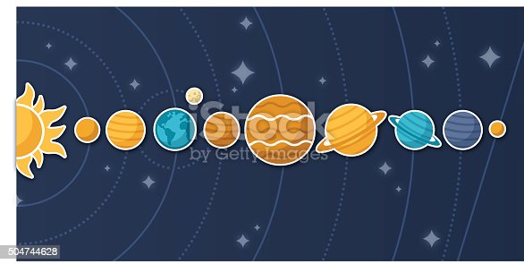 Flat design of planets and solar system from space with stars. EPS 10 file. Transparency effects used on highlight elements.