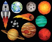 Planets and Space Design Elements Vector Set