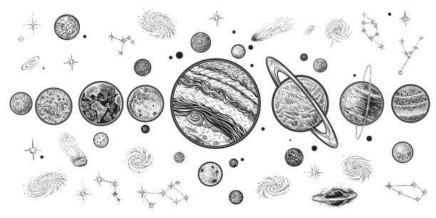 Planets and space hand drawn vector illustration. Solar system with satellites. vector art illustration