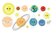 Big vector set of  planets characters. Cartoon badges, cute  stickers. Patch or fashion pin badges. Solar system, space, universe.