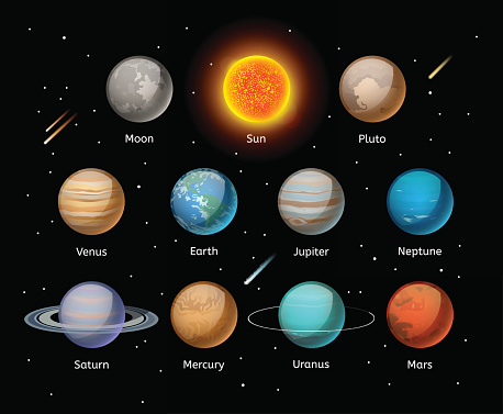 Planets colorful vector set on dark background