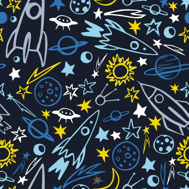 ilustraciones, imágenes clip art, dibujos animados e iconos de stock de planetas, cometas, cohetes.  patrón vectorial - conceptos y temas