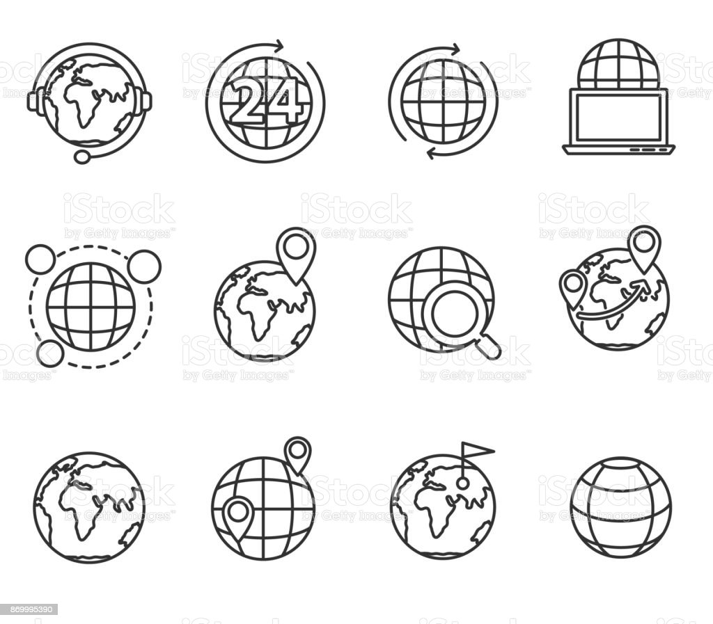 planets icons set. vector art illustration