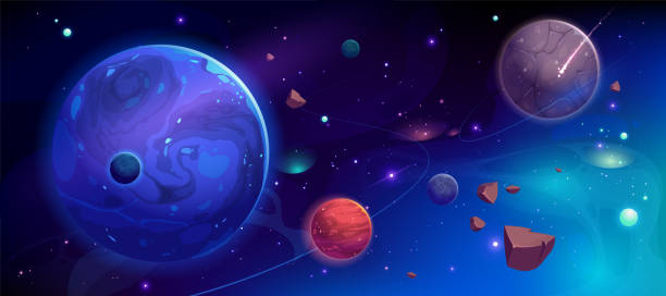 Planets in outer space with satellites and meteors Planets in outer space with satellites, falling meteor and asteroids in dark starry sky. Galaxy, cosmos, universe futuristic fantasy view background for computer game. Cartoon vector illustration planet space stock illustrations