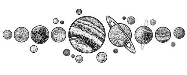 ilustraciones, imágenes clip art, dibujos animados e iconos de stock de planetas sistema solar mano ilustraciones vectoriales dibujadas. - tatuajes de luna