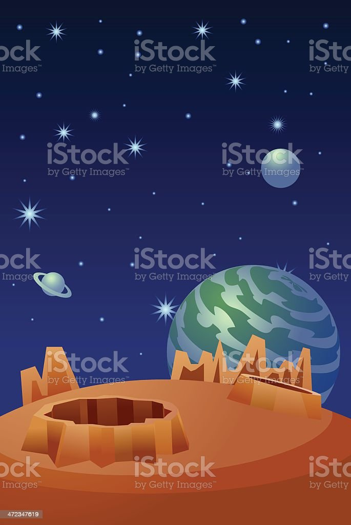 Planets in Space royalty-free stock vector art