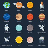 Planets of solar system and different space tools. Icon set in vector style