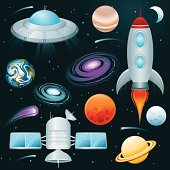 Planets, Space Ships, and Stars Icon Set