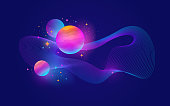 Planets with glow effect, stars and abstract waveform