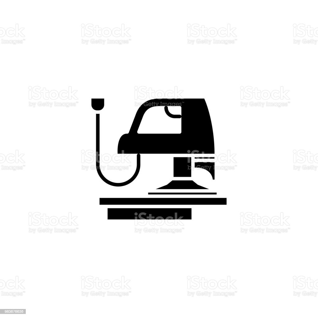 Planing machine black icon concept. Planing machine flat  vector symbol, sign, illustration. vector art illustration