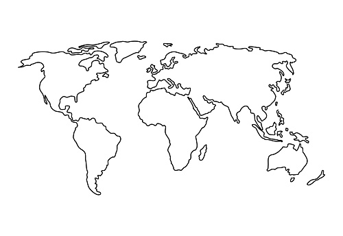 Vector hand drawn simple style illustration of the Planisphere - Line contour drawing of the world map isolated on white background