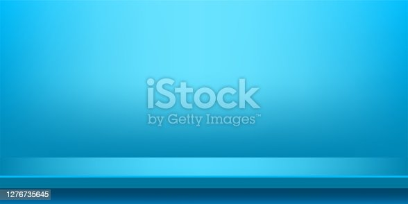 istock plank table light blue on wall room for background, blue backdrop, copy space for advertise product display, table plank red front view 1276735645