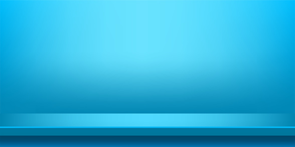 plank table light blue on wall room for background, blue backdrop, copy space for advertise product display, table plank red front view