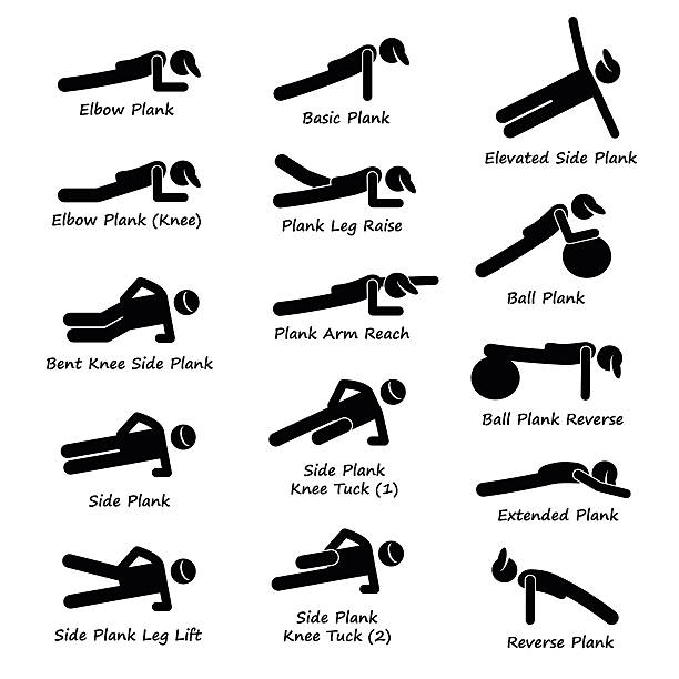 stockillustraties, clipart, cartoons en iconen met plank training variations exercise stick figure pictogram icons - buigen lichaamsbeweging